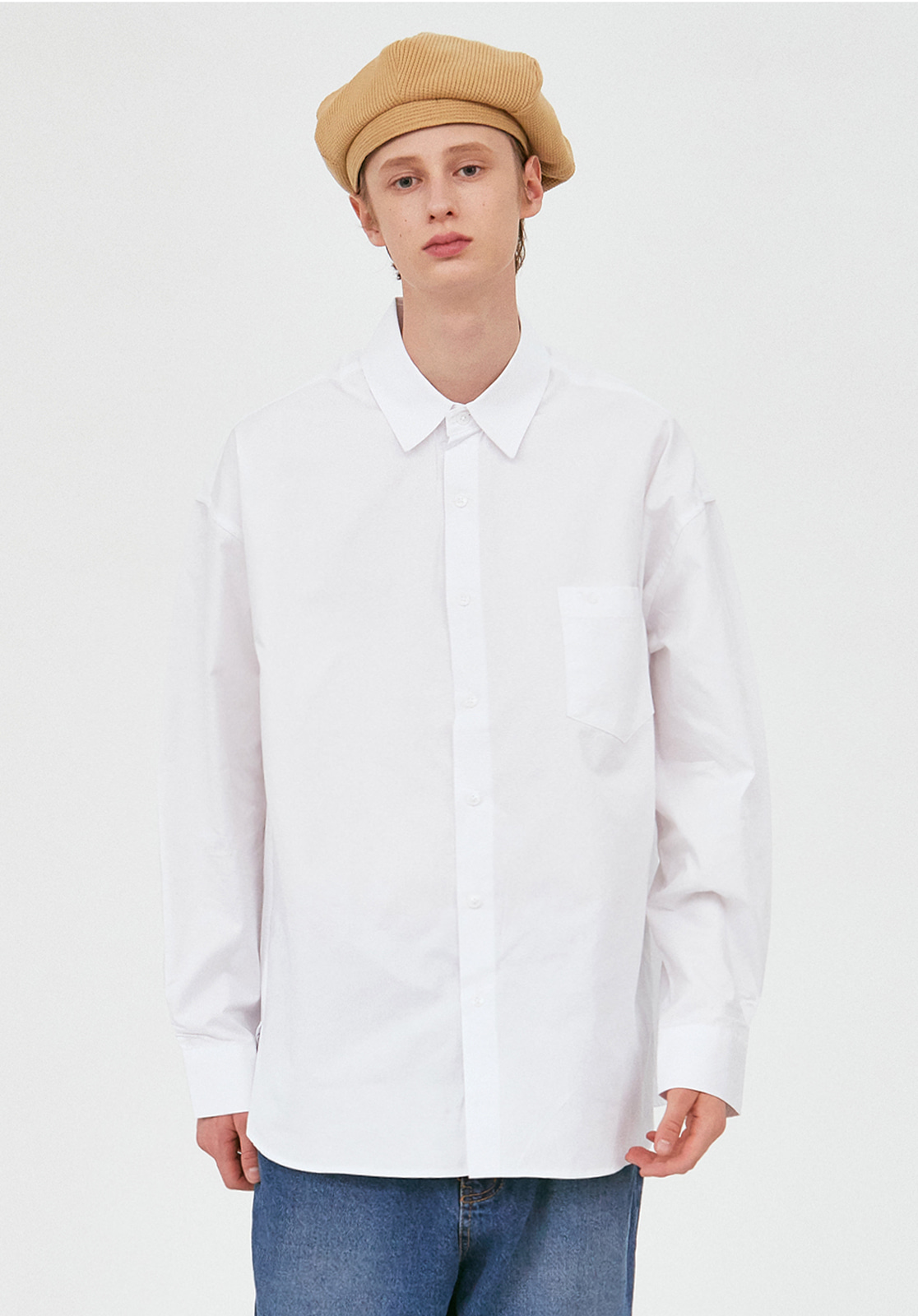 V457 MINIMAL POCKET OVERFIT SHIRTS  WHITE