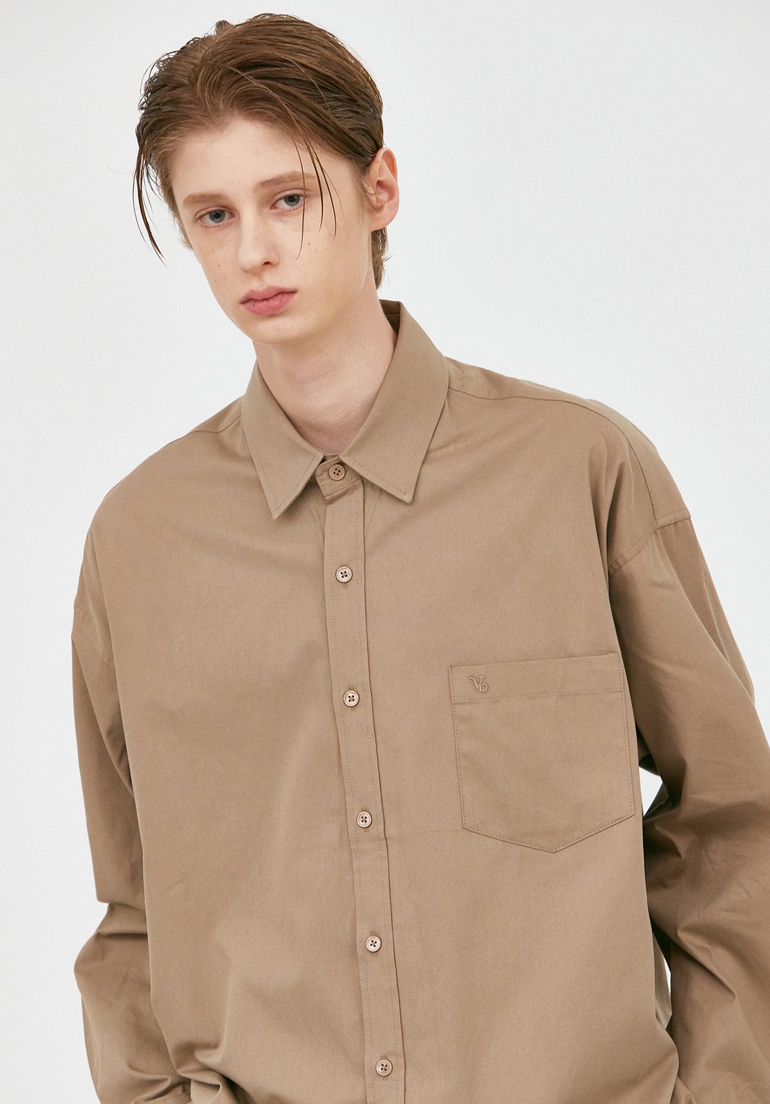 V457 MINIMAL POCKET OVERFIT SHIRTS  DARK BEIGE