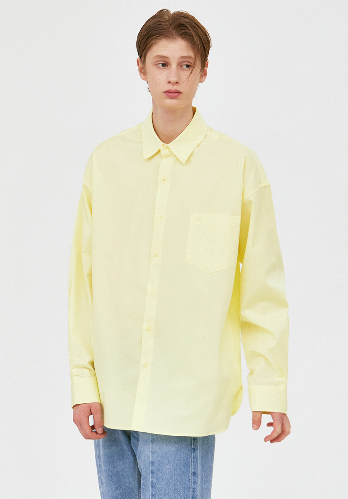 V457 MINIMAL POCKET OVERFIT SHIRTS  LIME